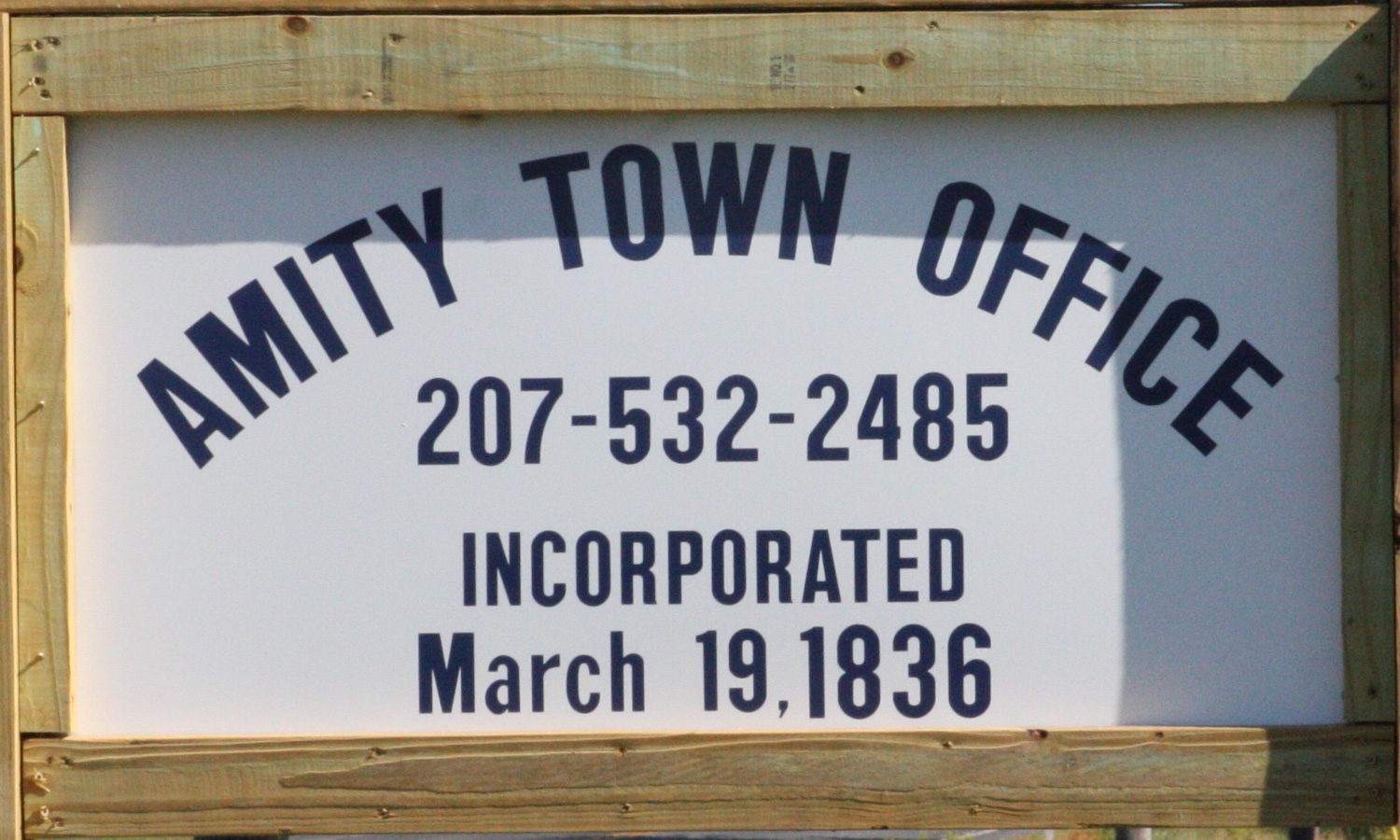 Amity New Town Office Sign